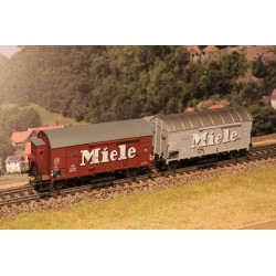 Rame de 2 wagons couverts DB Oppeln Miele Braun HO Exact-Train. Epoque III
