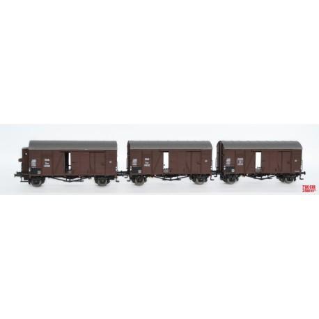 Rame de 3 wagons couverts ÖBB Oppeln Gmhs HO Exact-Train. Epoque III EX20097 - MAKETIS