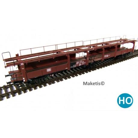 Wagon porte-autos DB Laes 542 HO Exact-train. Epoque IV EX20005C - MAKETIS