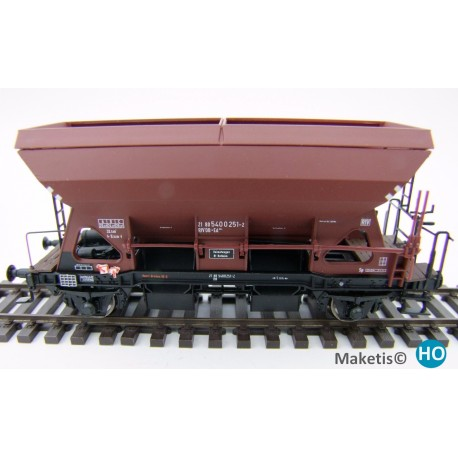 Wagon trémie Otmm 52 avec freins manuels, DB, HO Exact-Train. Epoque IV EX20061 - MAKETIS