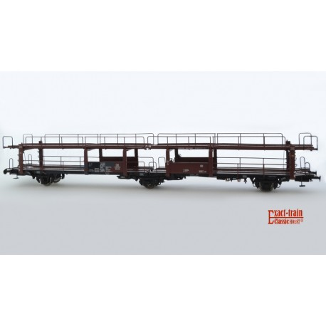 Wagon porte-autos DB Offs 55 HO Exact-train. Epoque III tableau ABC (631 098)