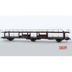 Wagon porte-autos NS Broekman Motorship & SITFA HO Exact-train. Epoque III