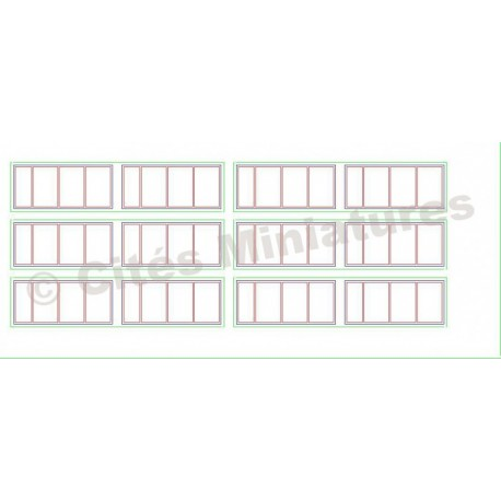 Fenêtres industrielles rectangulaires 41x18mm (x12) HO