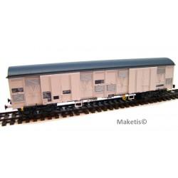 Wagon Gahkkss 16-6, gris, toit et volets inox, vérins, petit logo Sernam Ep. V SNCF HO L.S.Models 30331