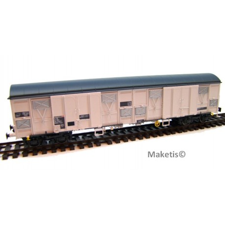 Wagon Gahkkss 16-6, gris, toit et volets inox, vérins, petit logo Sernam Ep. V SNCF HO L.S.Models 30331 - MAKETIS