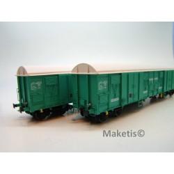 Set de 2 wagons Gahkkss 16-6 verts toit blanc, petit log Fret Ep. V SNCF HO L.S.Models 30333 - MAKETIS