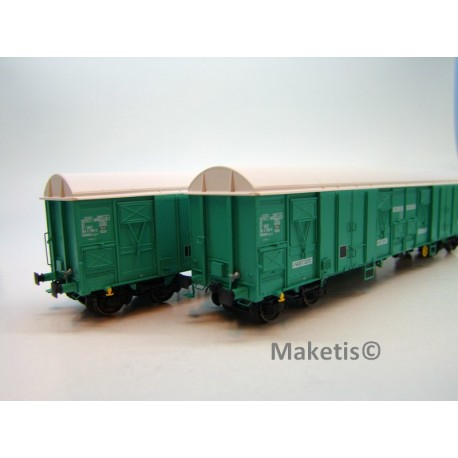 Set de 2 wagons Gahkkss 16-6 verts toit blanc, petit log Fret Ep. V SNCF HO L.S.Models 30333