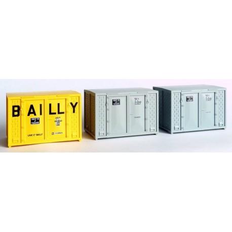 Set de 3 Containers Cadre 72 (1 Bailly et 2 gris) HO REE XB-032
