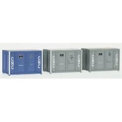 Set de 3 Containers Cadre 72 (1 bleu et 2 gris CNC) HO REE XB-033