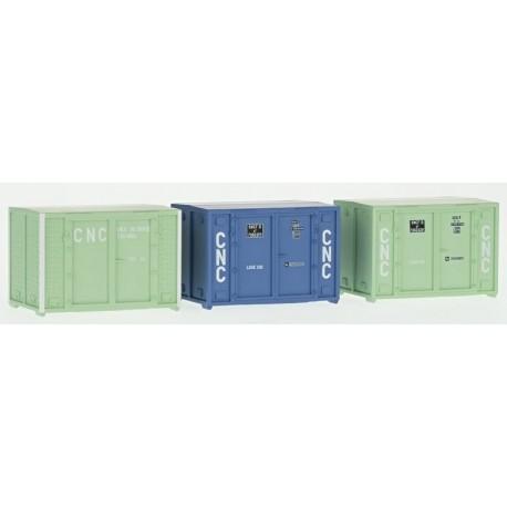 Set de 3 Containers Cadre 72 (1 bleu et 2 verts CNC) HO REE XB-035