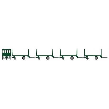 Set de 4 Chariots de Poste en Bois Ep.III Vert foncé HO REE XB-011