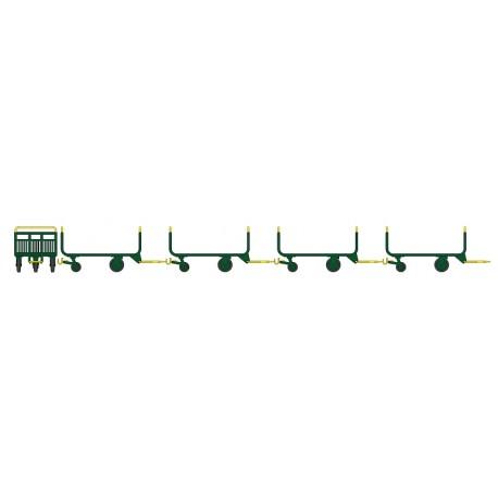 Set de 4 Chariots de Poste en Tubes métal Ep.IV-V Vert - Jaune - Brun PTT HO REE XB-014