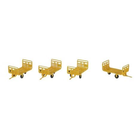 Set de 4 Chariots Poste Tubes Ep.IV Jaune + marquages Hirondelle HO REE XB-029