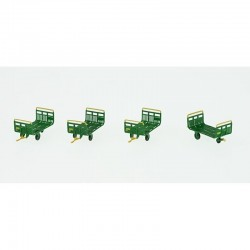 Set de 4 Chariots Poste Tubes Ep.IV-V Vert - Jaune - Brun PTT + marquages encadrés HO REE XB-031