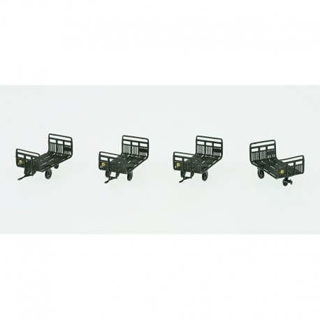 Set de 4 Chariots Poste Tubes Ep.III-IV Vert + marquages ronds HO REE XB-040