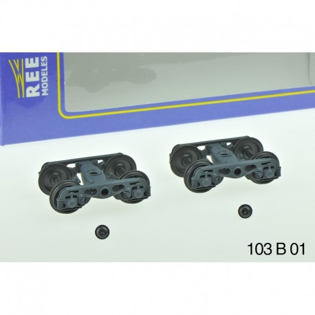 Set de 2 Bogies Y23 M - 4 Boites SKF - Gris moyen HO REE XB-103-B-01