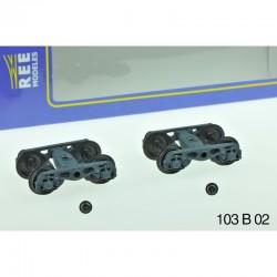 Set de 2 Bogies Y23 M - 4 Boites SKF - Gris clair HO REE XB-103-B-02