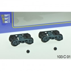 Set de 2 Bogies Y23 M - 4 Boites ISNR - Gris moyen HO REE XB-103-C-01