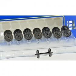Set de 8 Essieux roues pleines OCEM D1050 axes nus - Chargement wagon HO REE XB-202-08
