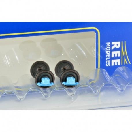 Set de 2 Essieux roues pleines OCEM D1050 Boites à rouleaux - Chargement wagon HO REE XB-203-02