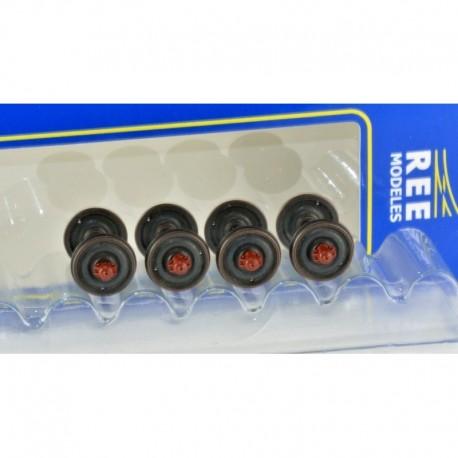 Set de 4 Essieux roues pleines D920 Boites à rouleaux SKF - Chargement wagon HO REE XB-204-04