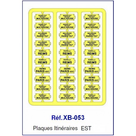 Plaques Itinéraire Voiture Voyageur Lettres Bleues - EST HO REE XB-053