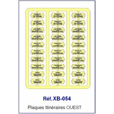 Plaques Itinéraire Voiture Voyageur Lettres Bleues - OUEST HO REE XB-054 - MAKETIS