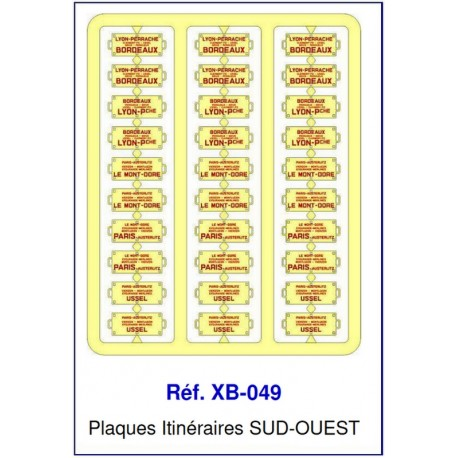 Plaques Itinéraire Voiture Voyageur Lettres Rouges - SUD-OUEST HO REE XB-049