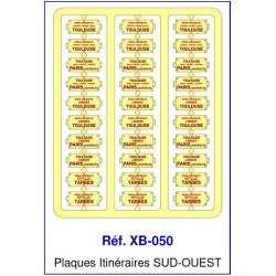 Plaques Itinéraire Voiture Voyageur Lettres Rouges - SUD-OUEST HO REE XB-050