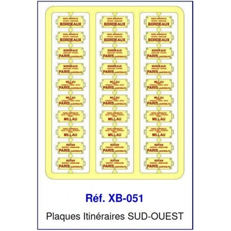 Plaques Itinéraire Voiture Voyageur Lettres Rouges - SUD-OUEST HO REE XB-051