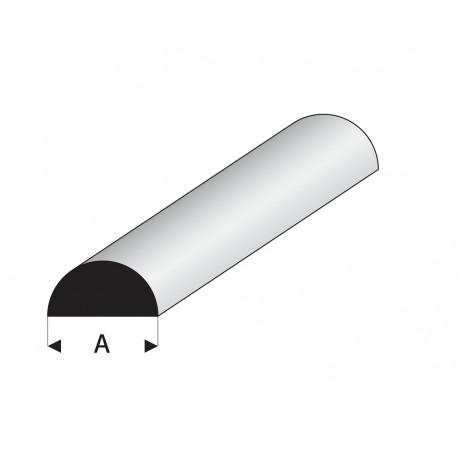 Profilés blanc super styrène demi rond plein Longueur 1m