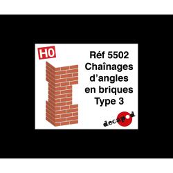 Chaînages d'angles en briques type 3 [HO]