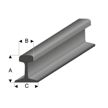 Steel grey Styrene Railroad Profiles