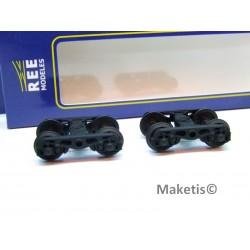 Set de 2 Bogies Y23 M - 4 Boites SKF - Noir HO REE XB-103-B-03 - MAKETIS