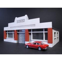 Garage automobile Art Déco HO toiture carton