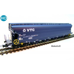 Wagon céréalier Tagnpps VTG 130m3, bleu EP VI, ref 505612 - MAKETIS