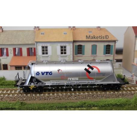 """Wagon silo pulvérulents Uacns """"VTG - HOLCIM"""", argent EP VI, ref 503605 - MAKETIS"""