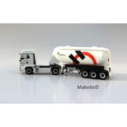 MAN TGS LX Euro 6 silo Feldbinder 3 essieux HO NME/Herpa 503204 - Maketis