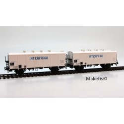 Set de 2 wagons couverts H1 INTERFRIGO Ep.IV SNCF HO LS Models 30512