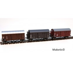 Rame de 3 wagons couverts Oppeln DB/SNCF/OBB HO Exact-Train. Epoque III EX20122 MAKETIS