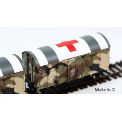 Rame de 2 wagons couverts Oppeln DRG GRS (Camouflage - Croix rouge) HO Exact-Train. Epoque II