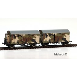 Rame de 2 wagons couverts Oppeln DRG GRS (Camouflage) HO Exact-Train. Epoque II