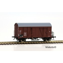 Wagon couvert DB Oppeln Gmrhs30 EUROP avec plate-forme HO Exact-Train. Epoque III