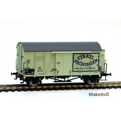 Wagon couvert DB Oppeln Staatl. Fachingen avec guérite HO Exact-Train. Epoque III