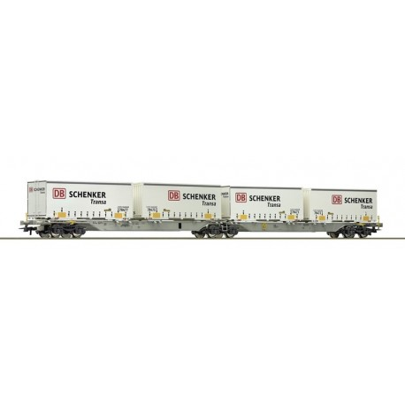 Wagon double porte-conteneur DB Schenker AAE Ep VI HO Roco 76916 - Maketis