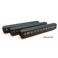 Coffret 3 voitures UIC Couchettes B9C9x Ep.IV HO REE VB-174 - Maketis