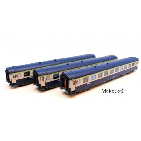 Coffret 3 voitures UIC Couchettes B9C9x Bleu Ep.V HO REE VB-181 - Maketis
