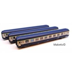 Coffret 3 voitures UIC Couchettes Bleu - Gris Argent 806, Logo Casque Ep.V TOIT HAUT HO REE VB-191