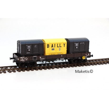 Wagon plat TP SNCF Ep.III A + 3 CADRES SNCF HO REE WB-424 - Maketis