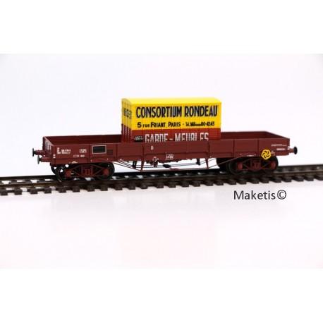 Wagon plat TP SNCF N° 20 87 388 5 718-3, 3 roues pleines, 1 roue à rayons Ep.IV NOUV. NUMERO HO REE WB-429